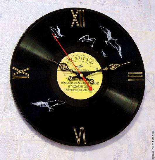 Часы для дома ручной работы. Ярмарка Мастеров - ручная работа. Купить Про Селигер.... Handmade. Черный, часы интерьерные, чайки