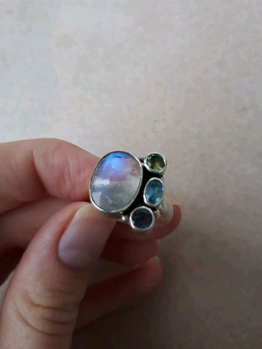 MANDALA-a magic ring with a rainbow moonstone and gems, Rings, Moscow,  Фото №1