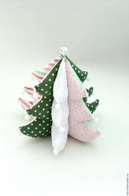 Новый год 2017 ручной работы. Ярмарка Мастеров - ручная работа. Купить Елка новогодняя текстильная,зеленый,розовый,белый,кружево,рождество. Handmade.