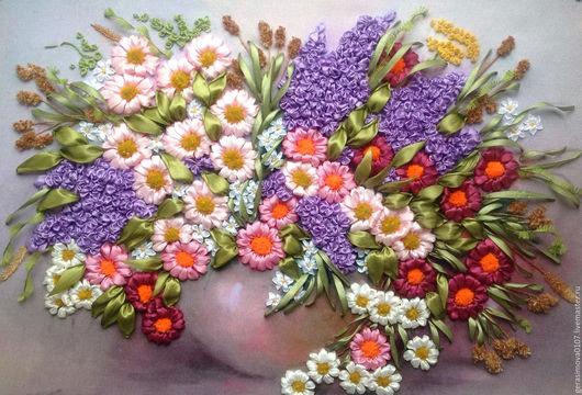 Картины цветов ручной работы. Ярмарка Мастеров - ручная работа. Купить Полевой букет .. Handmade. Вышивка лентами, полевые цветы