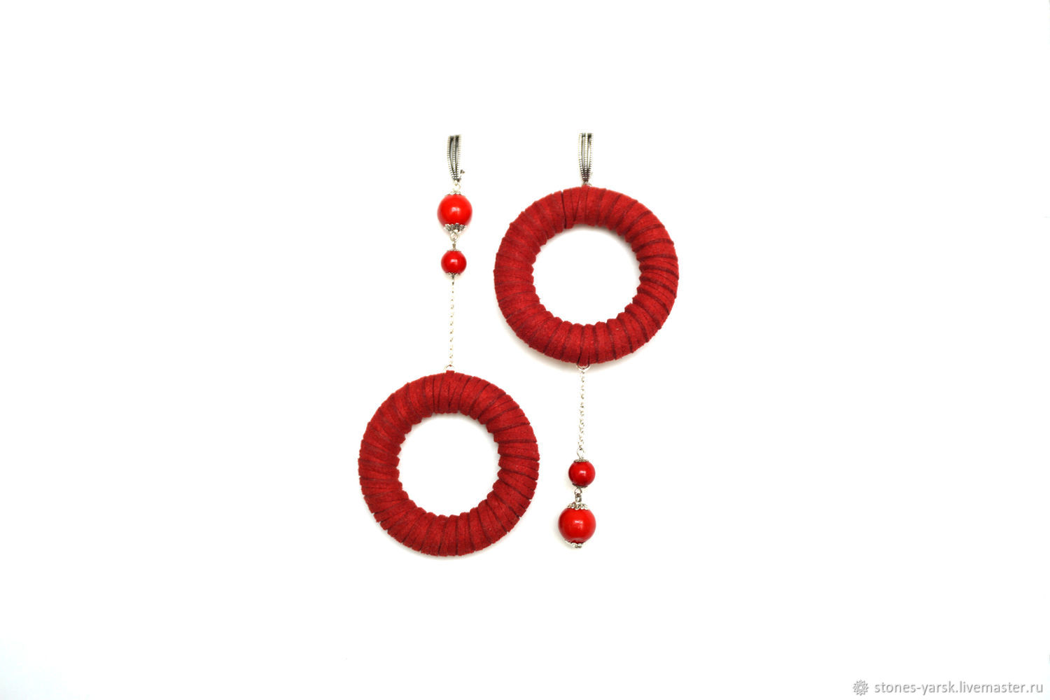Asymmetric, red coral earrings 'Bright pair', Earrings, Moscow,  Фото №1