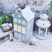 Для дома и интерьера handmade. Livemaster - original item White.  Lamp-house light grey with a white roof. Night light. Handmade.