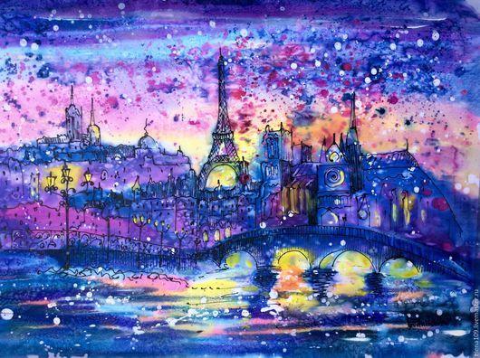 Город ручной работы. Ярмарка Мастеров - ручная работа. Купить Париж!!!. Handmade. Комбинированный, Картины и панно