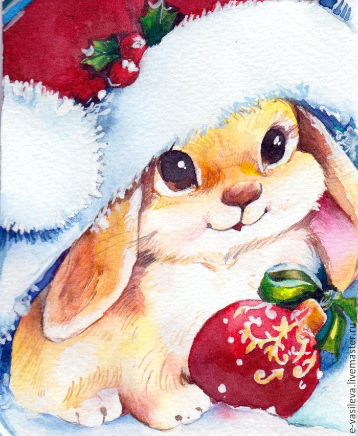 Открытка, заяц новогодний открытки