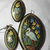 Украшения handmade. Livemaster - original item Jewelry set with the author`s painting