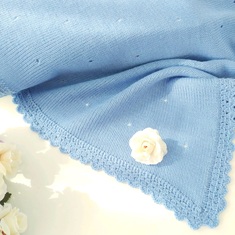 Вязанный плед для мальчика, светло синее одеяло, Одеяла, Тобольск,  Фото №1