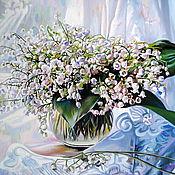 """Картины ручной работы. Ярмарка Мастеров - ручная работа Картины: """"Ландыши в лучах солнца"""".. Handmade."""