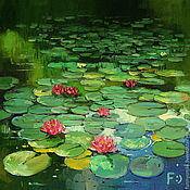 Картины и панно handmade. Livemaster - original item Oil painting on canvas. A pond with water lilies.. Handmade.