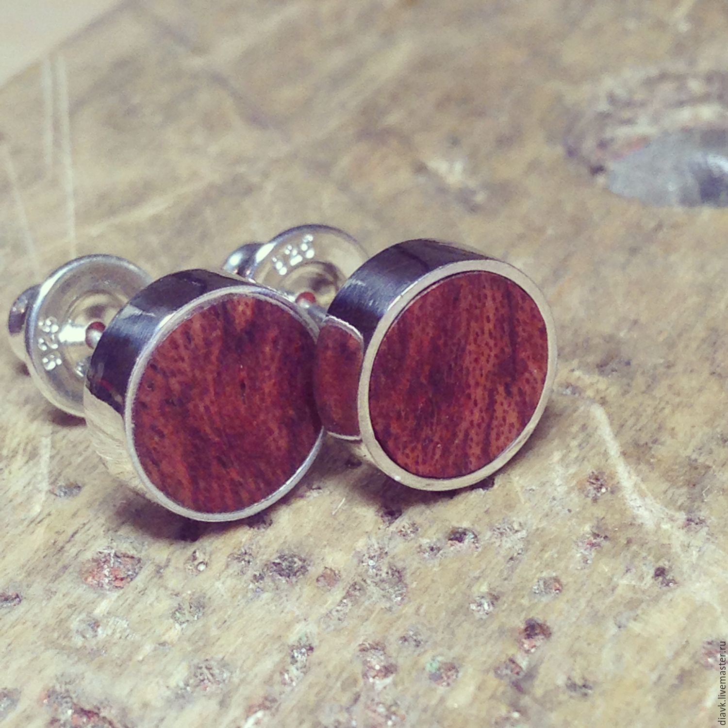 Hi From Australia Silver Earrings With Wood Shop Online On