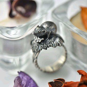 Украшения ручной работы. Ярмарка Мастеров - ручная работа Кольцо Мышка, серебро 925 пробы с чернением. Handmade.