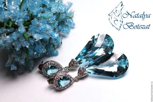 Серьги шикарные с крупными большими ювелирными камнями небесными голубыми топазами на элитной родированой фурнитуре скристаллами. Подарок маме подруге женщине девушке коллеге купить