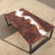 Столы ручной работы. Ярмарка Мастеров - ручная работа Стол река из слэбов с заливкой смолой. Handmade.