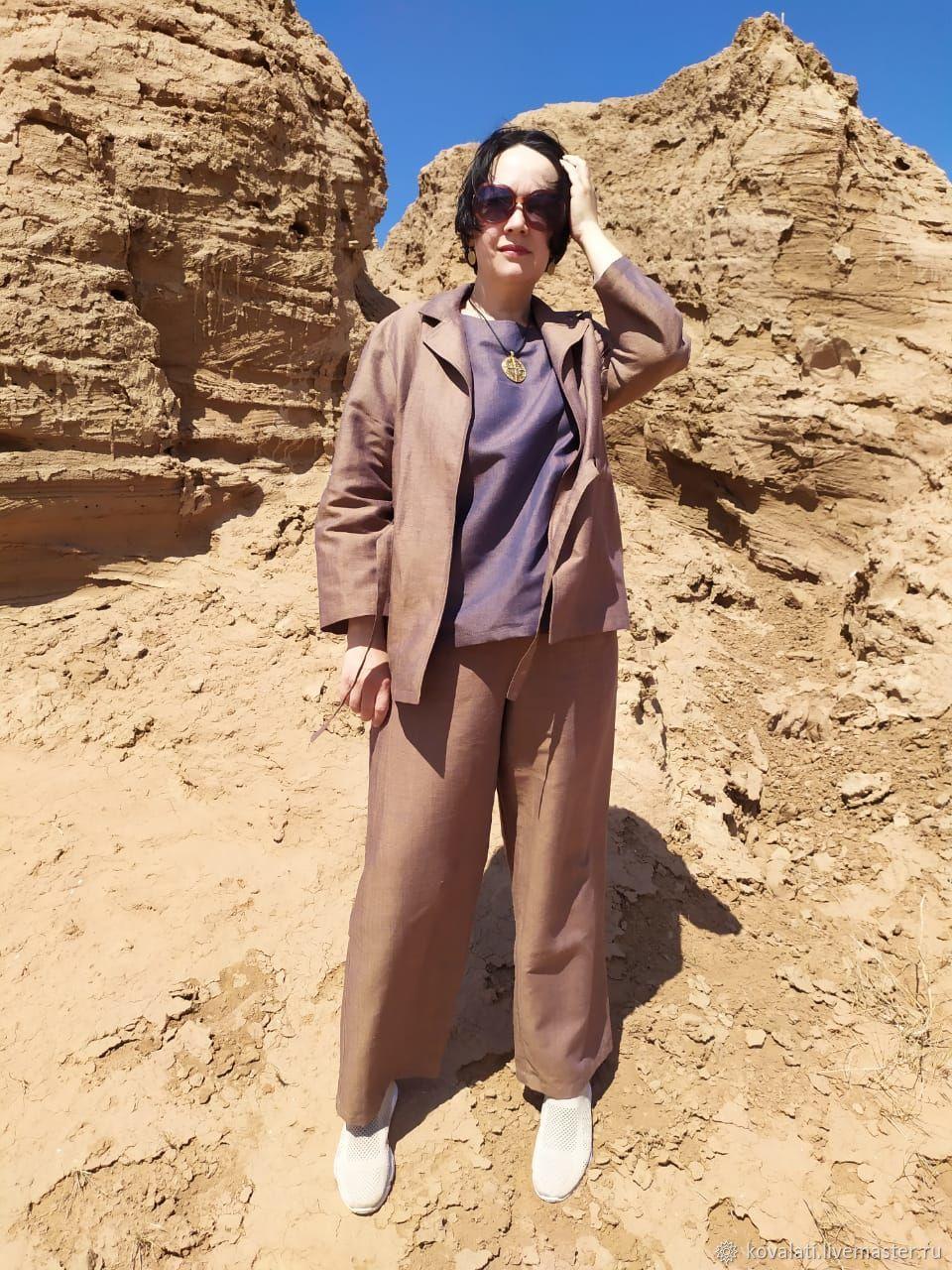 Костюм-пижама из льна с хлопком с эффектом тафты, Костюмы, Астрахань,  Фото №1