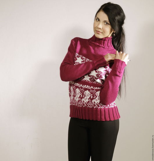 Кофты и свитера ручной работы. Ярмарка Мастеров - ручная работа. Купить Вязаный свитерок «Рубиновое небо». Handmade. Бордовый
