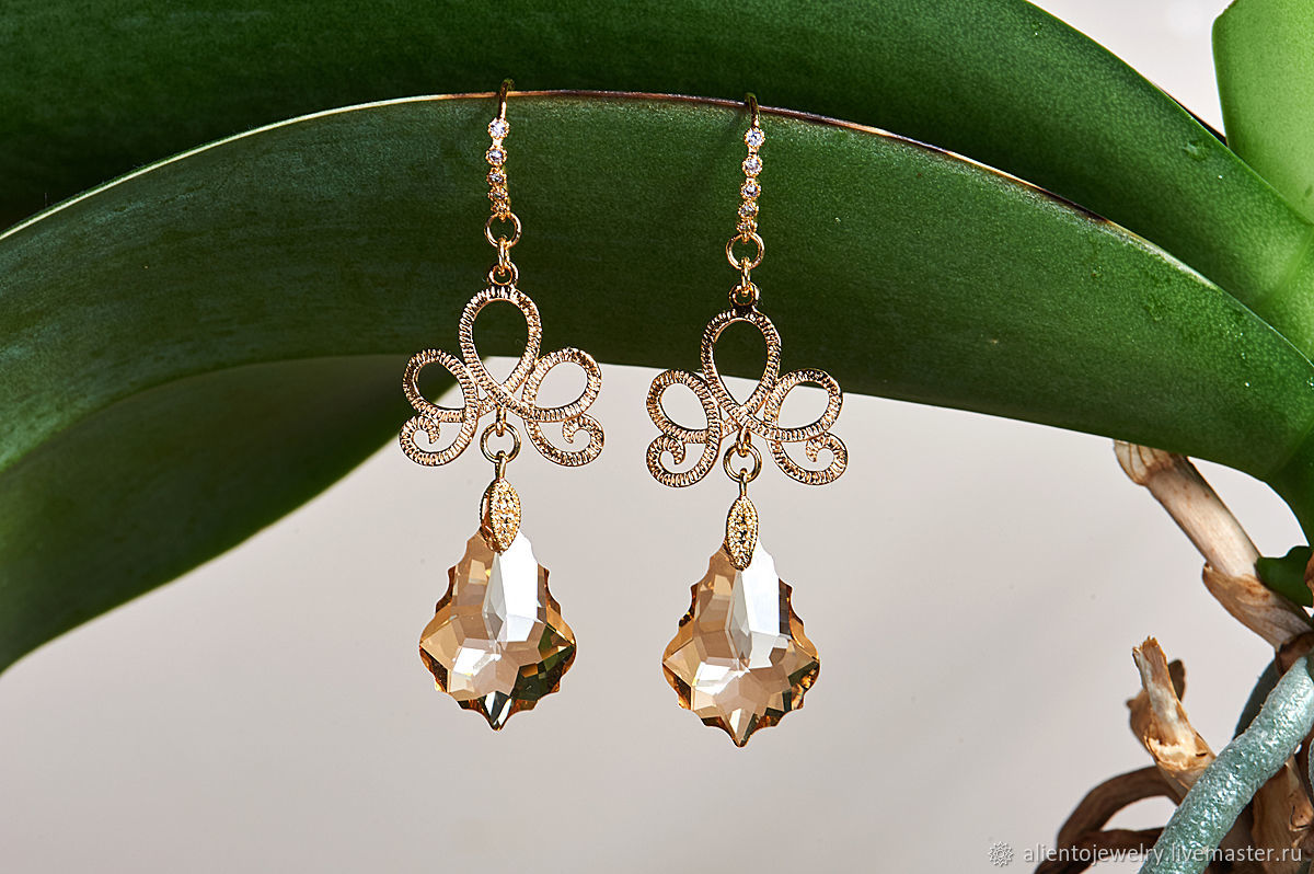 Luxury Baroque earrings with Swarovski crystals, Earrings, Moscow,  Фото №1
