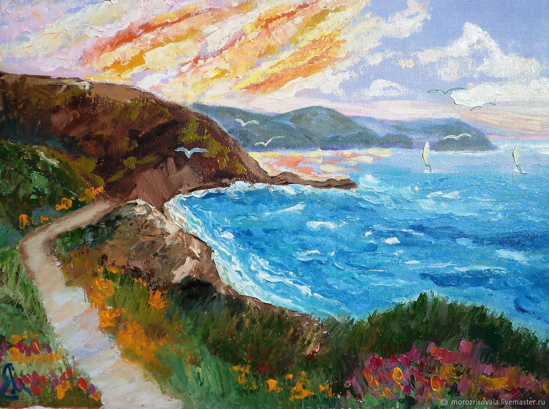 Пейзаж ручной работы. Ярмарка Мастеров - ручная работа. Купить Картина с морем 'Шёпот моря' 30/40 см , картина маслом. Handmade.