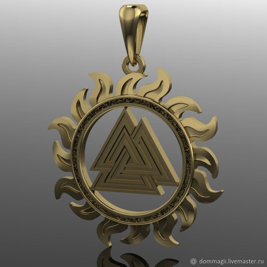 Valknut in the sun gold, Amulet, Moscow,  Фото №1
