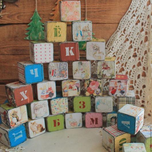 деревянные игрушки, кубики винтаж, игрушки из дерева, кубики декупаж