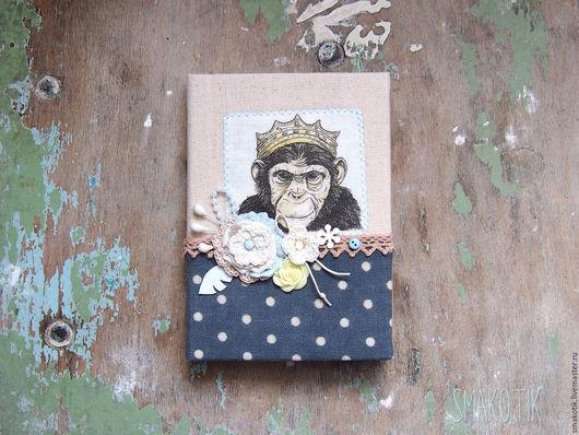 """Блокноты ручной работы. Ярмарка Мастеров - ручная работа. Купить Блокнот """"Просто царь"""". Handmade. Синий, блокнот с нуля, обезьянка"""
