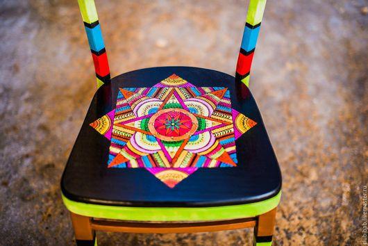 """Мебель ручной работы. Ярмарка Мастеров - ручная работа. Купить Стул """"Индийский"""" из набора стульев  """"География"""" БРОНЬ. Handmade. Комбинированный"""