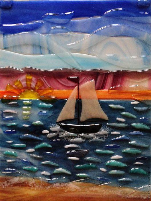"""Элементы интерьера ручной работы. Ярмарка Мастеров - ручная работа. Купить Панно """"Рассвет на море"""". Handmade. Голубой, панно, парус"""