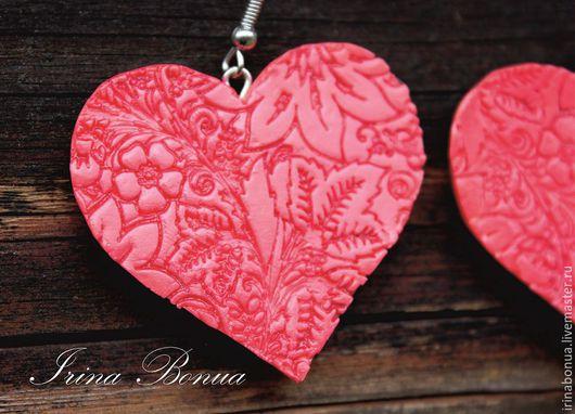 """Серьги ручной работы. Ярмарка Мастеров - ручная работа. Купить Серьги """"Большое сердце"""". Handmade. Розовый, серьги, полимерная глина"""