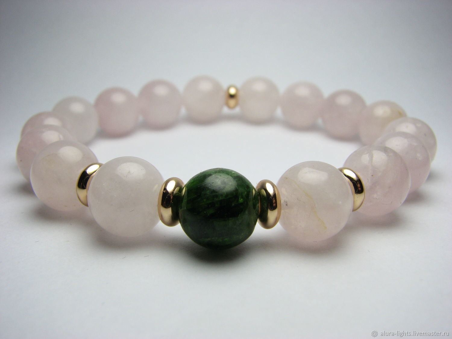 Rose quartz and chromdiopside bracelet ' in the Apple orchard', Bead bracelet, Moscow,  Фото №1