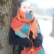 """Сумки и аксессуары ручной работы. Ярмарка Мастеров - ручная работа """"Оранж и бирюза""""-шарф+сумка. Handmade."""