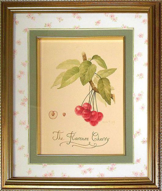 Картины цветов ручной работы. Ярмарка Мастеров - ручная работа. Купить Флорентийская вишня. Handmade. Бежевый, вишня, каллиграфия, розочки