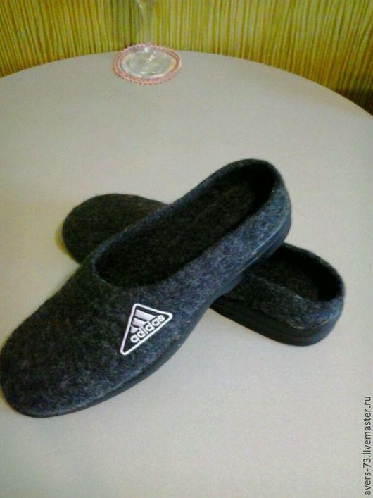 Обувь ручной работы. Ярмарка Мастеров - ручная работа. Купить Валяные комнатные мужские шлепанцы. Handmade. Темно-серый