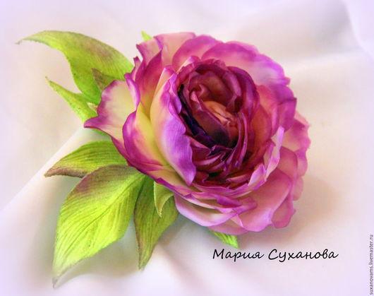 Броши ручной работы. Ярмарка Мастеров - ручная работа. Купить Роза из шелка. Handmade. Фуксия, брошь, брошь-цветок
