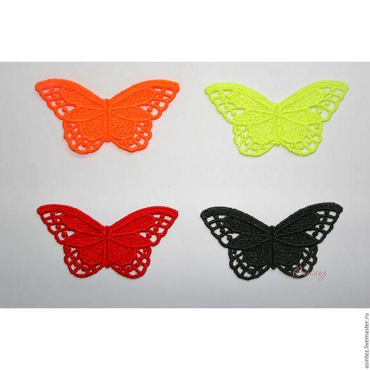 Аппликации, вставки, отделка ручной работы. Ярмарка Мастеров - ручная работа. Купить вышивка аппликация Цветные бабочки кружево ажур FSL. Handmade.