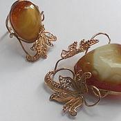 """Украшения ручной работы. Ярмарка Мастеров - ручная работа брошь и кольцо """"Лесная сказка"""" из золота  с янтарем. Handmade."""