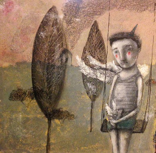 Люди, ручной работы. Ярмарка Мастеров - ручная работа. Купить Nature boy. Handmade. Комбинированный, подарок, акрил, картина, ангел