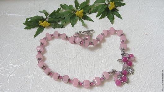 Колье САКУРА из розового кварца и жадеита