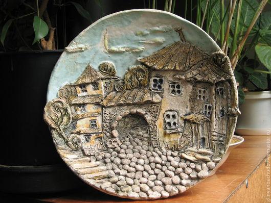 """Город ручной работы. Ярмарка Мастеров - ручная работа. Купить Тарелка """"Город"""". Handmade. Город, глина"""