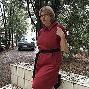 Одежда ручной работы. Ярмарка Мастеров - ручная работа Платье 2218 Малиновое замша. Handmade.