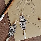 Украшения handmade. Livemaster - original item Soutache earrings with pearls