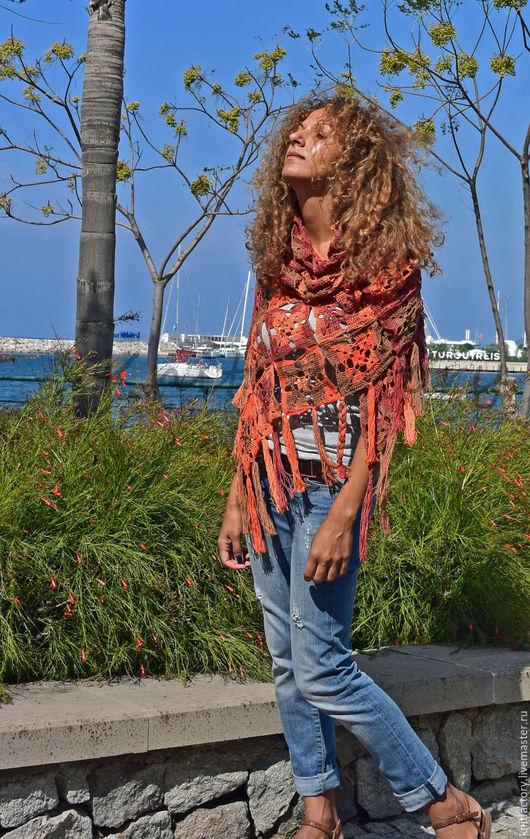 """Шали, палантины ручной работы. Ярмарка Мастеров - ручная работа. Купить Шаль """"Оранжевое небо, оранжевое море.."""". Handmade."""