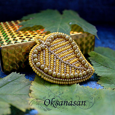 Decorations handmade. Livemaster - original item brooches: A beaded brooch is Yellow autumn leaf. Handmade.
