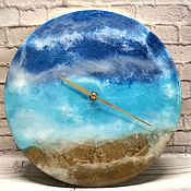 """Часы классические ручной работы. Ярмарка Мастеров - ручная работа Часы из эпоксидной смолы """"Море"""". Handmade."""
