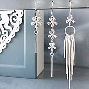 Украшения handmade. Livemaster - original item A set of three earrings flowers silver asymmetrical earrings. Handmade.