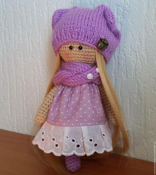 Коллекционные куклы ручной работы. Ярмарка Мастеров - ручная работа. Купить Вязаная кукла. Handmade. Сиреневый, кошка, шапочка вязаная