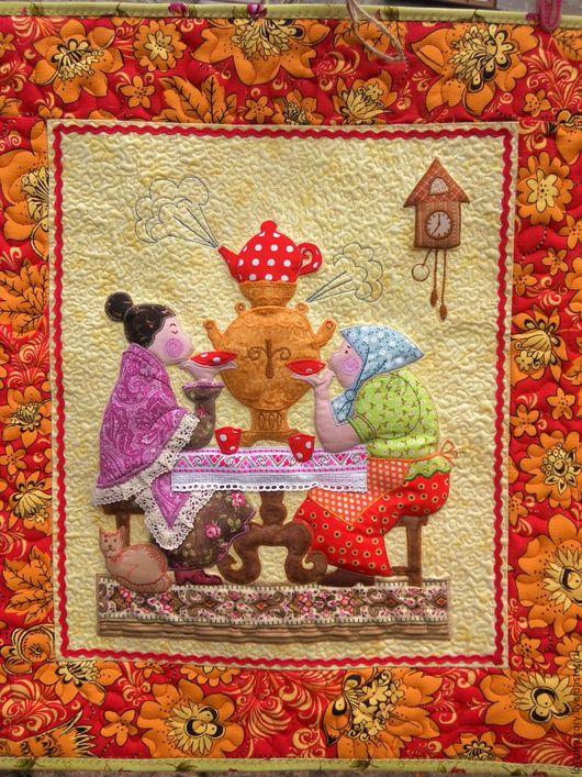 Текстиль, ковры ручной работы. Ярмарка Мастеров - ручная работа. Купить Текстильное,  лоскутное панно КУМУШКИ У САМОВАРА. Handmade.