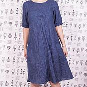 Одежда ручной работы. Ярмарка Мастеров - ручная работа Синее льняное платье с карманами. Handmade.