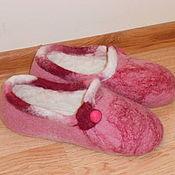 Обувь ручной работы. Ярмарка Мастеров - ручная работа домашние тапочки розовые. Handmade.