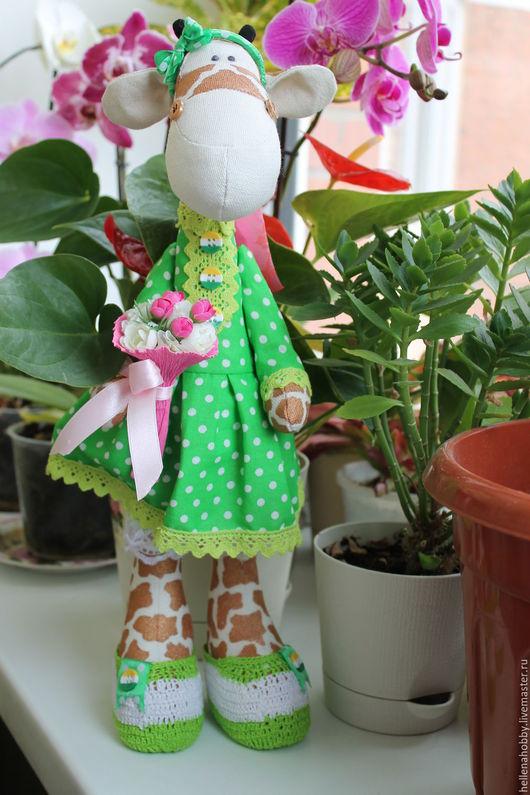 Игрушки животные, ручной работы. Ярмарка Мастеров - ручная работа. Купить Жираф  Тильда. Handmade. Ярко-зелёный, текстильная игрушка