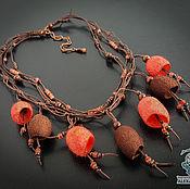 """Украшения ручной работы. Ярмарка Мастеров - ручная работа Колье """"Коралловый блюз"""" с шелковыми коконами. Handmade."""