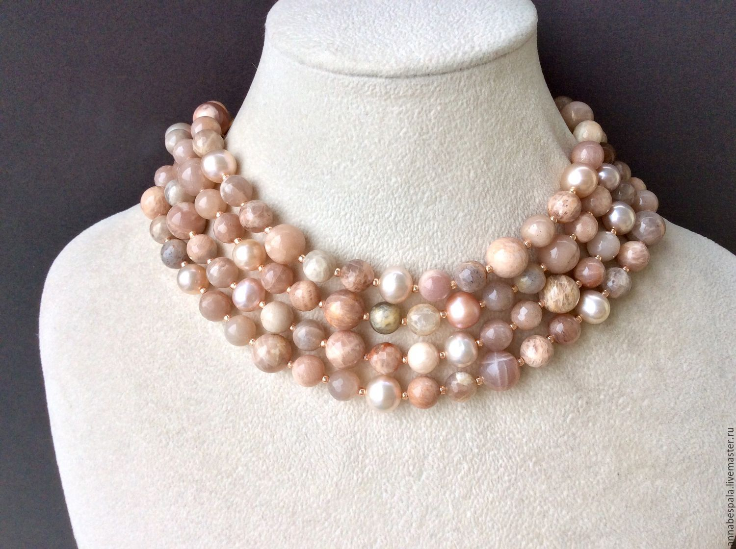 necklace with pendant dunes from solar stone and pearls, Necklace, Moscow,  Фото №1