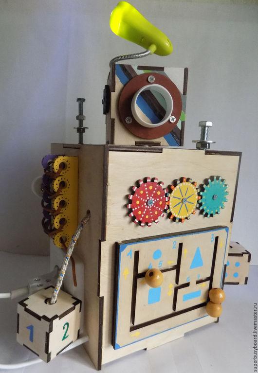 """Развивающие игрушки ручной работы. Ярмарка Мастеров - ручная работа. Купить Бизиборд """" Робот"""". Handmade. Бизиборды, бизибокс"""